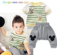 5pcs/lot new 2014 fashion children summer clothing set, stripe cotton kid boys t shirt +shorts squirrel design baby boy clothing