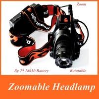 18650 Headlamp 2500 Lumens CREE U2 LED 3 Mode Waterproof cap light Zoomable headlampFor Hiking Camping