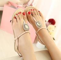 New Arrival 2014 High Quality Large Gem Rhinestone Herringbone Flip Sandals Fashion Cozy Women's Low-heeled Shoes Free Shipping