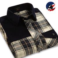 New 2014 Autumn Winter Plaid Smart Casual Shirts U-shark Mens Classic Cotton Patchwork Plaid Long-sleeve Shirts Sanded Shirt