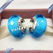 2pcs S925 Sterling Silver Aqua Fascinating Faceted Murano Glass Beads Charm Fit European pandora Bracelet & Necklaces Pendant 40