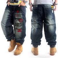 Original Quality Denim Jean Men Plus Size Hip-Hop Loose Baggy Design Blue Wash Embroidery HipHop Hip Hop Rap Pants Trousers