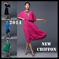 Plus size chiffon dresses new fashion 2014 summer loose batwing sleeve one-piece dress solid color knee-length dress green black