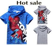 Hot sale New 2015 summer 100% cotton cartoon spiderman print hoodies children t shirt boys Tops clothing tee,kids clothes 5438