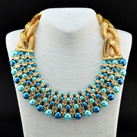 2014 New Fashion Luxury Brand Pearls Gem Necklaces & Pendants Shourouk Choker Necklace Vintage Statement Jewelry