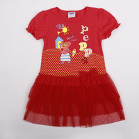 2014 Hot summer kids wear cotton baby girls dress Peppa Pig girls lace dress fashion children clothing LU5 Free shipping