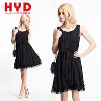 2014 spring and summer dress bow black lace one-piece dress short women dress o-neck princess dress