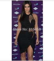 2014 Fashion Black gauze sleeveless knitting sexy mini bandage dress celebrity party evening dress