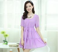 new arrival 2014 summer women's candy color puff collar high waist drawstring princess dress lady's fashion skirt