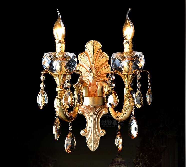 Luxury style gold color best K9 crystal bed room decoration walll lamp restaurant wall lamp hotel wall light free shipping(China (Mainland))