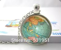 Wholesale Vintage Globe Necklace Planet Earth World Map Art Pendant  - glass dome pendant necklace