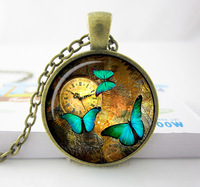Wholesale Steampunk clock pendant Steampunk watch necklace Butterfly Steampunk clock jewelry-glass  dome pendant necklace