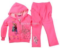 New 2014 Girl Frozen Anna Elsa Fleece Autumn Thin Fleece hoodie +Pants 2pcs Tracksuits, 5sets/lot, 6 colors
