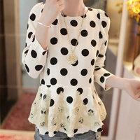 2014 new spring Korean style women blouses patchwork slim chiffon blouses women free shipping Z1111