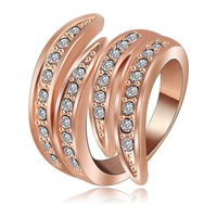 Fashion Angel's Wing Engagement Rings 18K Rose Gold Plating Vintage Jewelry Rings  Pave Czech Crystal Wedding Rings  RC 001