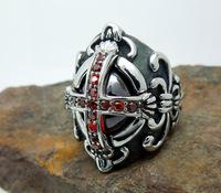 Vintage Hot Mens Silver Cross Ruby Cubic Zirconia 316L Stainless Steel Biker Ring US Size 6-12 Men's Jewelry