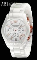AR 1416 Free Shipping HK Post AR Luxury Watches For Men CHRONOGRAPH Quartz Watches Men Brand White Ceramic Watches