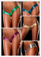 Women Sexy  Lingerie Underwear  Metallic Micro Shorts Dancer G-string  Valentine's Day Panties