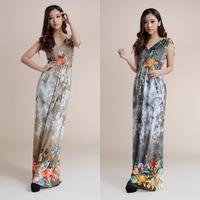 sexy deep V-neck floral print maxi dress 2014 summer bird print dress plus size floor length beach long dress for holiday