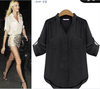 S-XL 2014 New hot Autumn Fashion Women Blouses Clothing Plus size Casual tops Slim European style loose office chiffon shirt