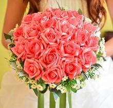 venta caliente de seda artificial novia manos sosteniendo flor rosa ramo de novia wq0002 envío del descenso,(China (Mainland))