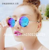 Harajuku sunglasses female fashion circle prince mirror male reflective sunglasses metal small circular frame vintage glasses