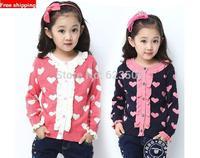 2014 Outerwear Children'S Clothing Female Child Sweater Cardigan Female Child Spring Child Basic Shirt Female Big Boy Sweater