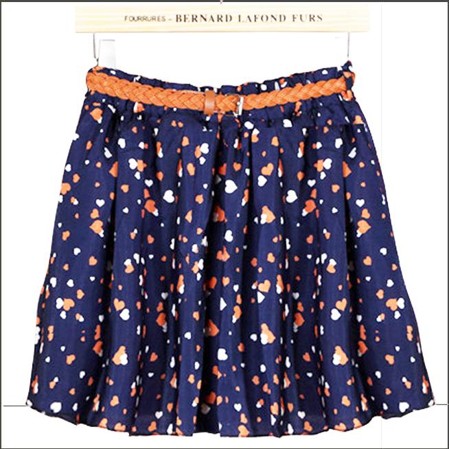 Hot Sale! Free Shipping Floral Printed Muti-color Women Chiffon Skirt with Belt TSP1111(China (Mainland))