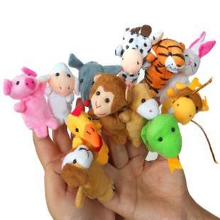 12pcs Happy Family Fun Animal cartoon designs Finger Puppets Chinese zodiac Baby Plush Toys kids story talking free shipping(China (Mainland))