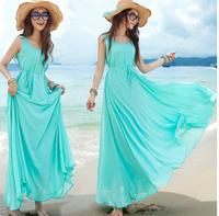 Summer Long Bohemia Expansion Bottom Full Blue dress Tank Sleeveless Floor-Length Boat Neck Dress Vest Dress 850364