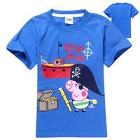 2014 new summer George peppa pig  cotton short-sleeved kid's T-shirt children boy brand clothing high quality t-shirt