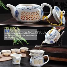 Hot Sale Free Shipping Bone China Bule and white Tea Set 10PCS Set Chinese Kung Fu