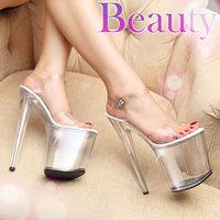 plus size35-44 2014 fashion women's 20cm ultra high-heeled car steel pipe dance crystal platform sandals lady catwalk shoes