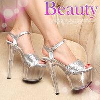 plus size35-44 2014 fashion women's sexy nightclub 16cm ultra high-heeled transparent elegant crystal sandals