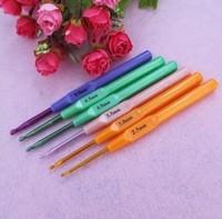 6pcs/set Multicolour Plastic Aluminum Crochet Hooks Knitting Needles 2.5-5.0mm New D006