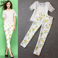 Fashion Clothing Set,Organza Embroidery Lace Tops + Print Pencil Pants 2 Pieces,Women 2014 New Spring Summer Brand WA19070