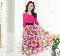 free shipping 2014 spring women's V-neck slim waist fifth sleeve print chiffon one-piece dress lady's mid-calf dress