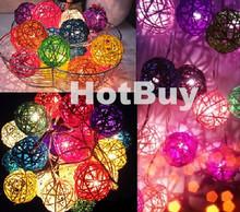 Multi-colors DIY home decoration 20 pcs LED Rattan Ball String Dia. 5cm 200 cm length Christmas multiclolor rattan ball light(China (Mainland))