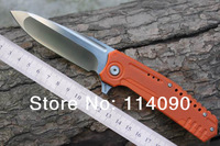 "Freeshipping 100% MG brand ""DAMM"" N690 steel blade Orange&Red G10 + import Titanium Alloy handle Bearings system folding knives"