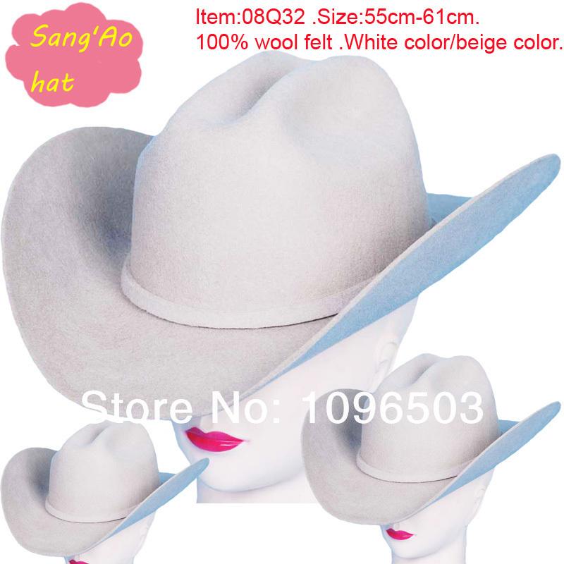 Wholesale/customized white large western cowboy hats fedora lana formal hat fashin100wool felt wear as shepherd hat/festival hat(China (Mainland))