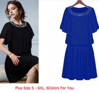 Fat Women Summer Chiffon One-piece Dress, Sundress O neck With Rhinestone, Large Plus Size 6XL 5XL 4XL Candy Colors Vestidos