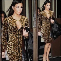 New Fashion Womens Long Sleeve Optical Illusion slimming Stretch bodycon Business Pencil Cocktail Leopard Sheath Dresses 20E2615