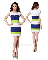 new 2014 Striped cotton good quality women summer dress sexy colors sexy sleeveless evening party LE2606