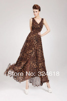new 2014 women long dress big V-neck sexy Leopard printing casual dress women summer dress for tall woman beach sexy dresses