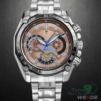 Luxury Men Quartz Watch Brown Dial Mult-function Dive Watches WR Wristwatch Free Ship