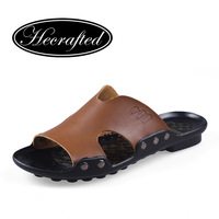 Genuine leather mens sandals slippers cowhide sandals outdoor casual men leather Slippers original HECRAFTED brands