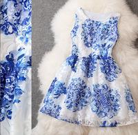 paris 2014 desigenr fashion summe elegant high-end women's wear new dresses, organza embroidered slim fit printing dress