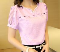 S-XXL New 2014 women summer blouse Cotton base Blouse solid hollow out beaded Korea Fashion lace blouse plus size loose 3 color