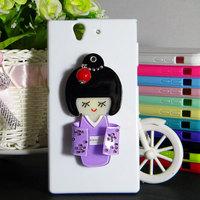 Kimono case for Sony-Ericsson Xperia L36h with 3D mirror back free shipping
