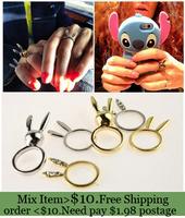ZH0830 New Arrive Hot Rabbit Ears Ring Fashion accessories  Rhinestone ring set  3pcs/set